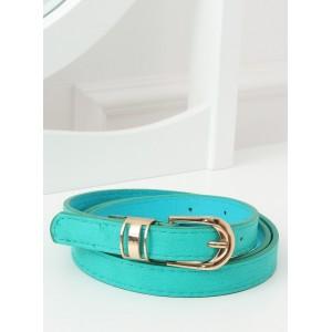 Originální dámský pásek v mořské modré barvě se zlatou přezkou