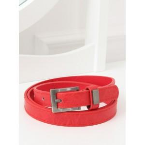 Červený dámský pásek s mosaznou přezkou a kovem na poutku