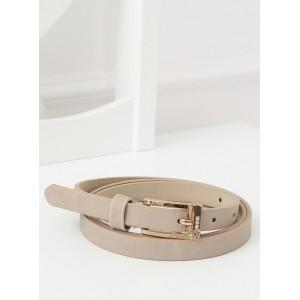 Elegantní dámský béžový pásek se zlatou sponou s kamínky