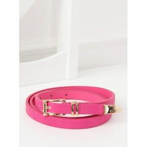 Výrazně růžový dámský pásek se zlatou ozdobnou přezkou