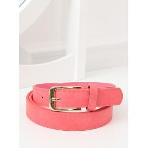 Trendy korálově růžový dámský pásek se zlatou sponou