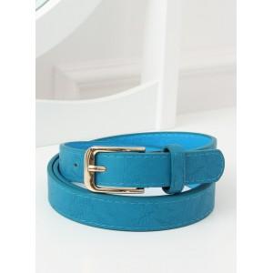 Krásný azurově modrý dámský pásek se zlatou sponou