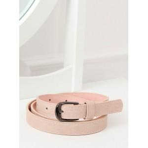 Elegantní dámský pudrově růžový pásek s kovovou sponou