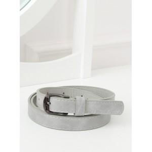 Stylový šedý dámský pásek s kovovou přezkou