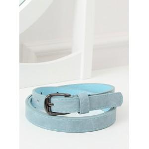 Světle modrý dámský pásek s kovovou černo stříbrnou sponou