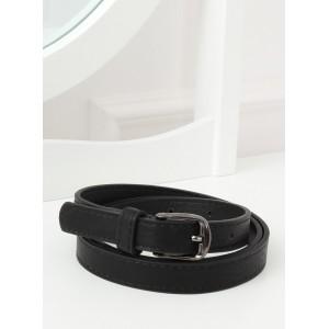 Klasický dámský černý úzký pásek s kovovou sponou