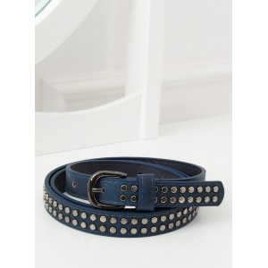 Tmavě modrý dámský pásek s kovovými cvoky a sponou