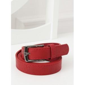 Červeno bordový dámský úzký pásek s kovovou sponou