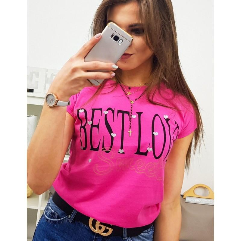 6bcae1836277b Neonově růžové dámské tričko s módním nadpisem BEST LOVE