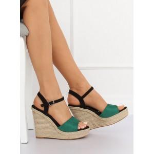 Zeleno černé letní dámské sandály na vysokém podpatku