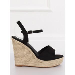Klasické dámské sandály na platformě černé barvy