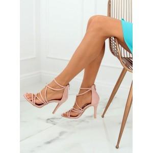 Exkluzivní dámské semišové sandály růžové barvy