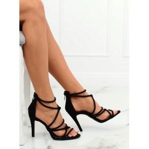 Černé dámské semišové sandály na vysokém podpatku