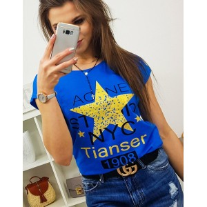 Krásné modré dámské tričko s potiskem žluté hvězdy a nápisů