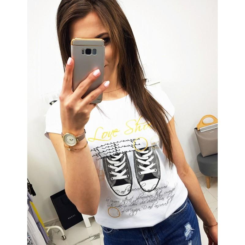 1eb959c6d Stylové dámské bílé tričko s potiskem bot a nápisem LOVE SHOES