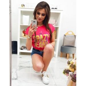 Krásné červeno malinové dámské tričko s trendy nápisem CRAZY JEANS