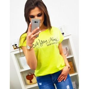 Limentkovo žluté dámské tričko s krátkým rukávem a nápisem