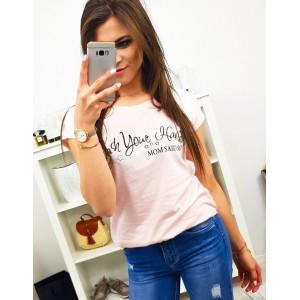 Světle růžové dámské tričko na léto s vtipným nápisem MOM SAID SO