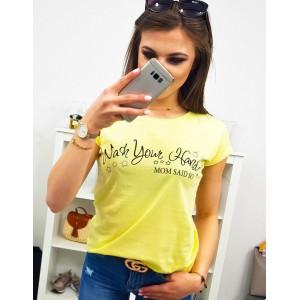 Dámské triko s krátkým rukávem ve žluté barvě s nápisem MOM SAID SO
