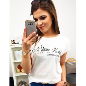 Smetanově bílé dámské bavlněné tričko s trendy potiskem MOM SAID SO