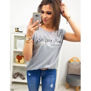 Stylové dámské šedé tričko s originálním nápisem