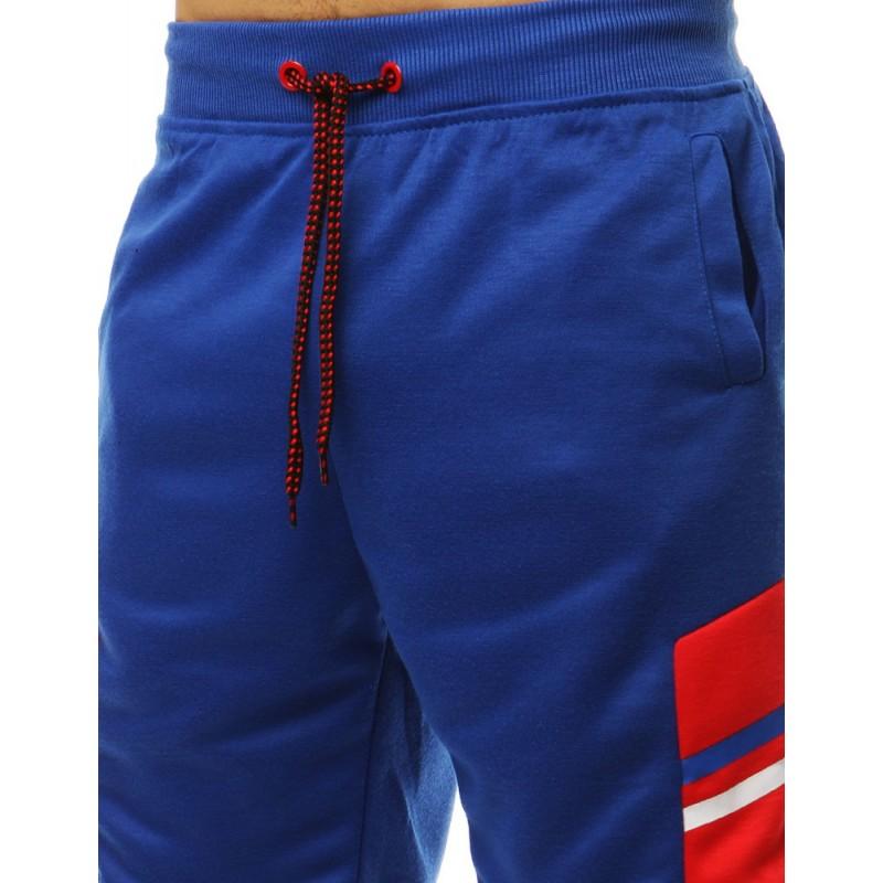 2f6791da5ebe Moderní dámské kraťasy modré barvy s designovým červeným pásem