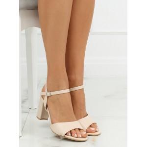 Letní dámské sandály na vysokém podpatku béžové barvy