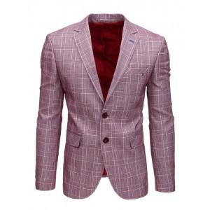 Trendy kostkované pánské sako k riflím v bordó barvě