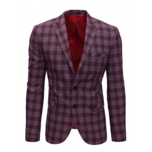 Sportovní pánské sako v bordó barvě s kostkovaným vzorem