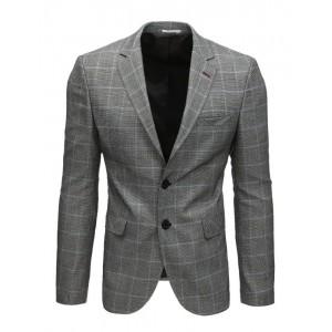 Neformální pánské sako v šedé barvě s károvaným vzorem