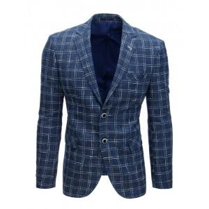Stylové kostkované ležérní pánské sako v modré barvě