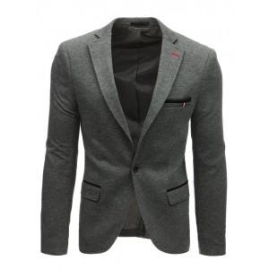 Tmavě šedé pánské sako olemované kontrastní látky v oblasti kapes