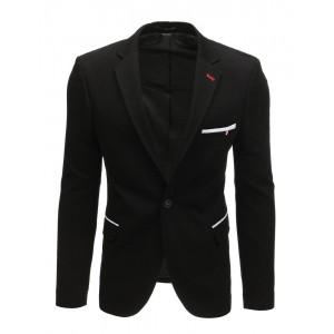 Ležérní pánské sako v černé barvě olemované bílým pásy