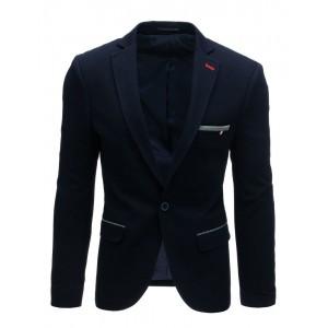 Jednobarevné pánské tmavě modré sako slim fit střihu