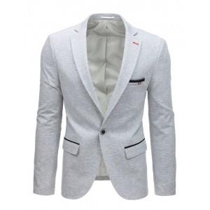 Originální jednobarevné světle šedé pánské sako na volný den