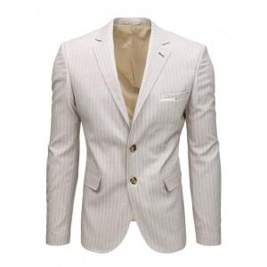 Krásné letní pánské sako v béžové barvě slim fit střihu