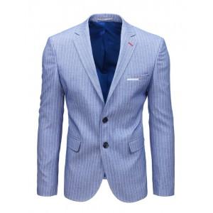Světle modré proužkované pánské sako k riflím