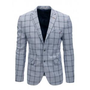 Sportovně elegantní pánské sako se vzorem tmavě modrého kára