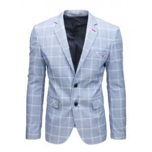 Nadčasové pánské sako v krásné světle modré barvě s potiskem kára