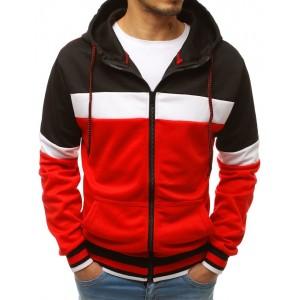 Trendy červená pánská mikina s kapucí a zapínáním na zip