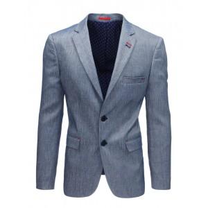Elegantní jednobarevné pánské sako v modré barvě
