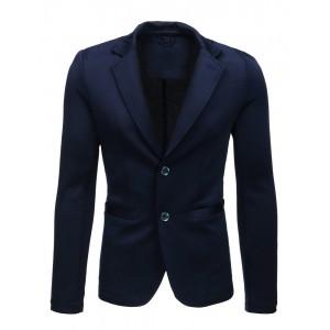 Originální a trendy pánské tmavě modré sako se záplatami na loktech