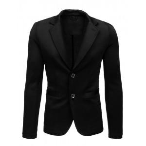Moderní pánské černé sako ve tvaru bundy se záplatami