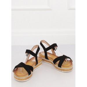 Moderní černé dámské sandály na korkové platformě s kamínky
