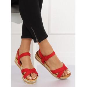 Stylové dámské červené sandály na korkové platformě s kamínky