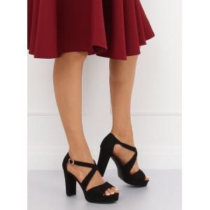 Elegantní dámské černé semišové sandály na léto a vysokém podpatku