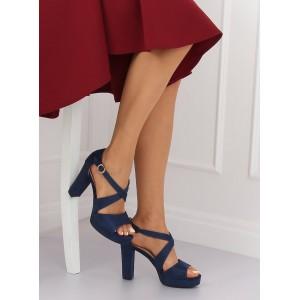 Krásné tmavomodré sandály na platformě na módním plném podpatku