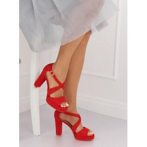 Dámske semišové sandály červené s plnou patou a volnou špičkou