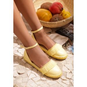 Dámské letní espadrilky žluté barvy s přezkou