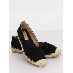 Klasické černé minimalistické dámské espadrilky s pletnecom
